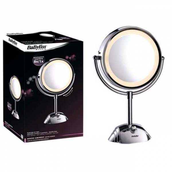 Miroir grossissant 8x babyliss 3 clairages 8438e for Miroir dentaire lumineux